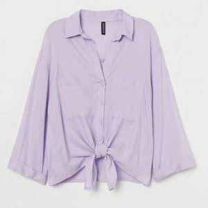 H&M Divided Lavender Tie-Hem Button Up Shirt